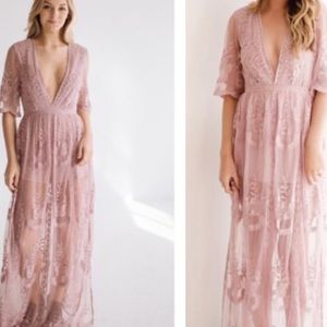 Many Shades Pink purple Lace Romper Maxi Dresses